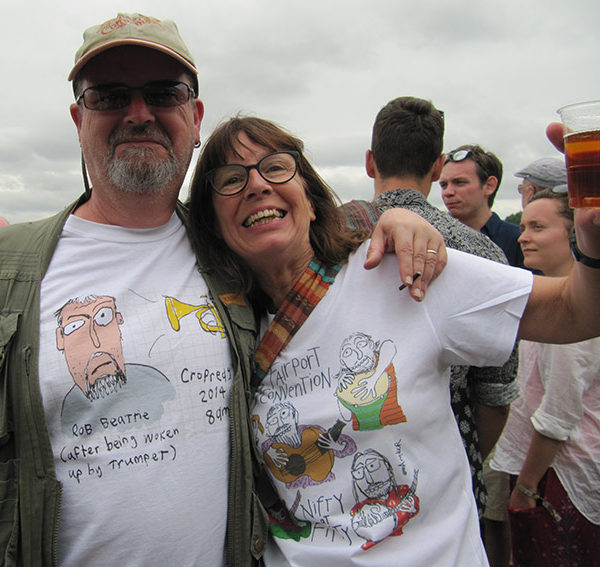 Rob Beattie with his own Rob Beattie T-shirt at Cropredy with Jane