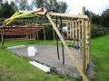 The outdoor structure is designed to encourage imaginative exploration and includes water-play, huge thwack-o-phones, speaking tubes, pulley, scaffold-chimes and storage