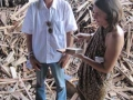 In Bali - Andy (boss) and me looking at materials